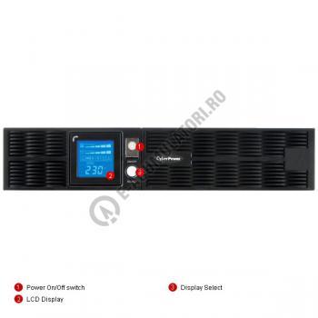 UPS Rackabil Cyber Power PR1000ELCDRT2U Line-Interactive 1000VA 700W AVR, LCD Display, 8 IEC OUTLETS, USB & Serial port3