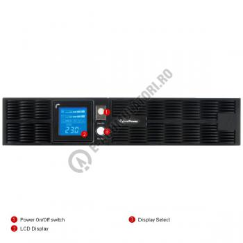 UPS Rackabil Cyber Power PR2200ELCDRT2U Line-Interactive 2200VA 1600W AVR, LCD Display, 8 IEC OUTLETS, USB & Serial port3