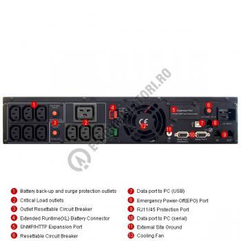 UPS Rackabil Cyber Power PR3000ELCDRT2U Line-Interactive 3000VA 2700W AVR, LCD Display, 10 IEC OUTLETS, USB & Serial port3
