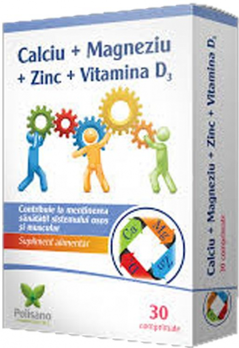 Calciu + Magneziu + Zinc + VItamina D3, 30 comprimate [0]