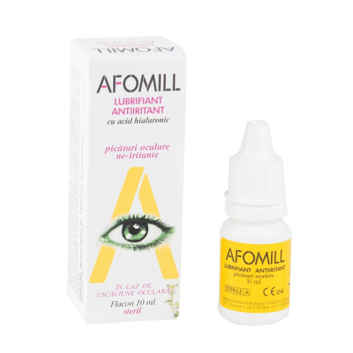 Picături oculare lubrifiante antiiritante cu acid hialuronic Afomill, 10 ml, Af United [0]
