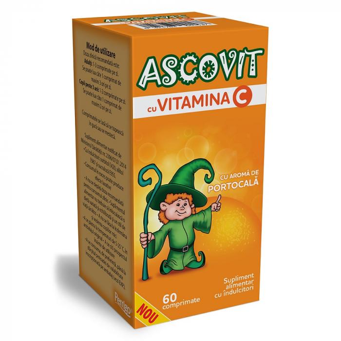Ascovit cu Vitamina C aroma de portocala, 60 comprimate, Omega Pharm [0]