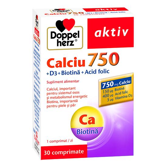 Doppelherz aktiv Calciu 750 + Vitamina D3 + Biotină + Acid folic, 30 comprimate [0]