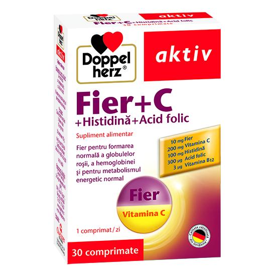 Doppelherz aktiv Fier + C + Histidină + Acid folic, 30 comprimate [0]