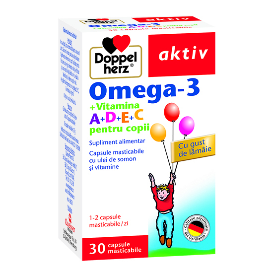 Doppelherz aktiv Omega-3 + Vitaminele A, D, E și C pentru copii, 30 capsule masticabile [0]