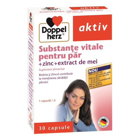 Doppelherz aktiv Substanțe vitale pentru păr + Zinc + extract de mei, 30 capsule [0]