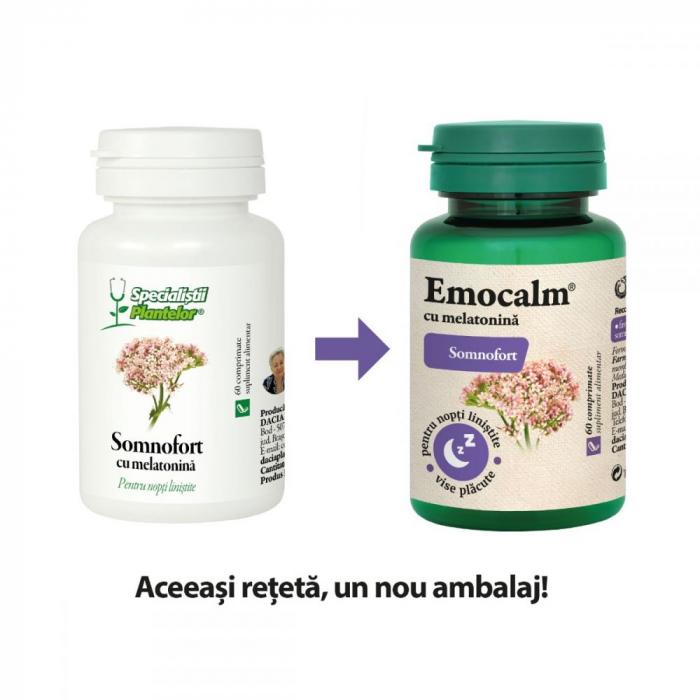 Emocalm cu Melatonina (Somnofort), 60 comprimate, Dacia Plant [0]