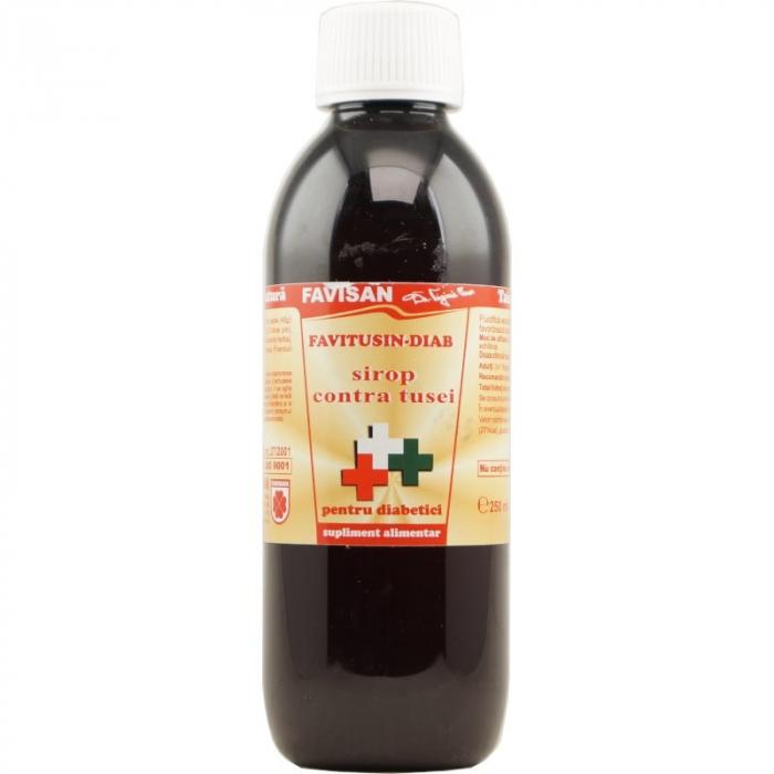 Sirop contra tusei Favitusin Diab fără zahăr, 250 ml, Favisan [0]