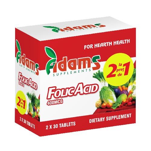 Pachet Acid Folic 400mcg 30tab Adams 1+1 GRATUIT [0]