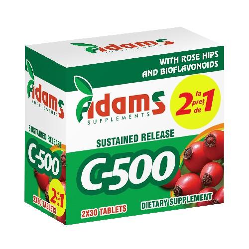 Pachet Vitamina C-500 cu Macese X 30 tab 1+1 cadou, Adams [0]