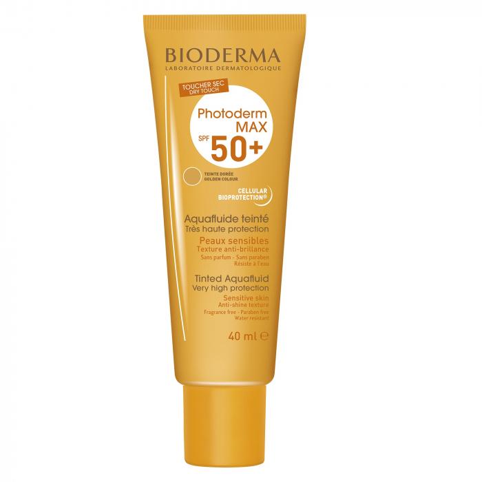 Cremă protecție solară nuanță aurie Photoderm Max Aquafluide SPF 50+, 40 ml, Bioderma [0]
