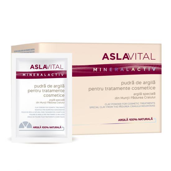 Pudra de argila pentru tratamente cosmetice Aslavital Mineralactiv, 10 plicuri x 20 g, Farmec [0]