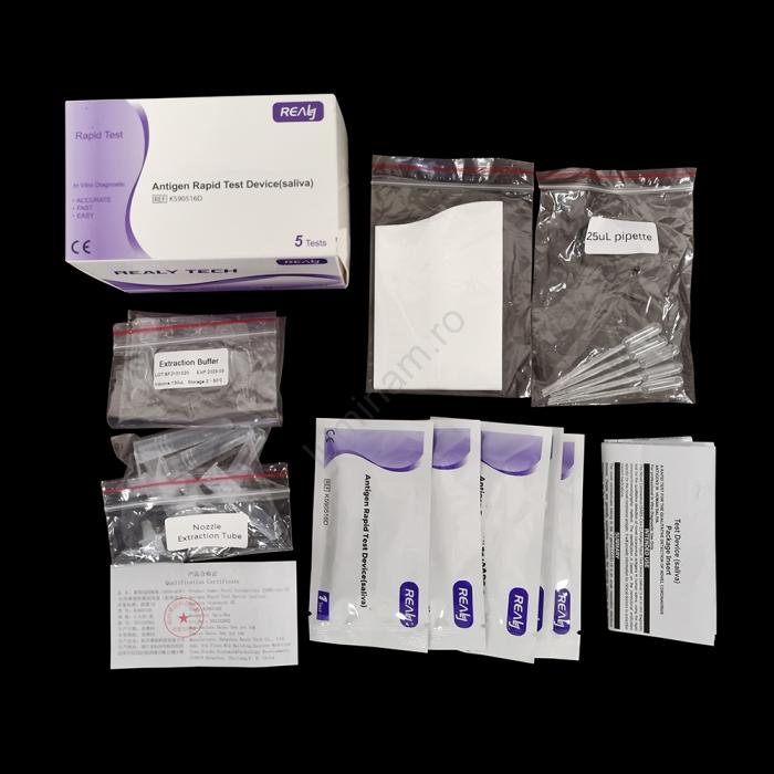SET x 5 buc Kit Test Antigen Covid -19 rapid din saliva Realy Tech [2]