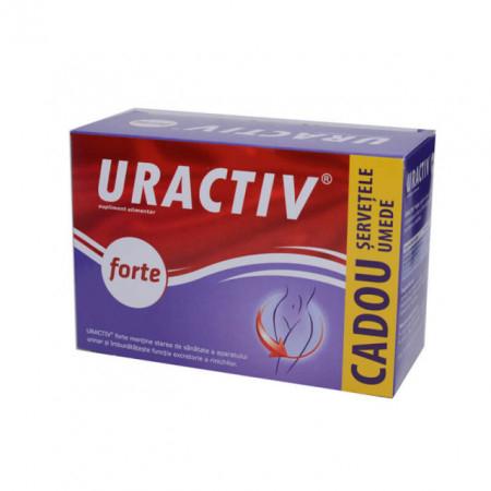 Uractiv Forte, 10 capsule+ servetele intime cadou [0]