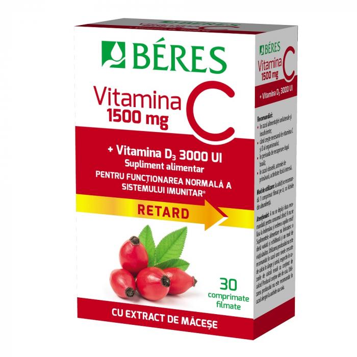 Vitamina C 1500 mg comprimat filmat RETARD + Vitamina D3 3000 UI, 30 comprimate, Beres [0]
