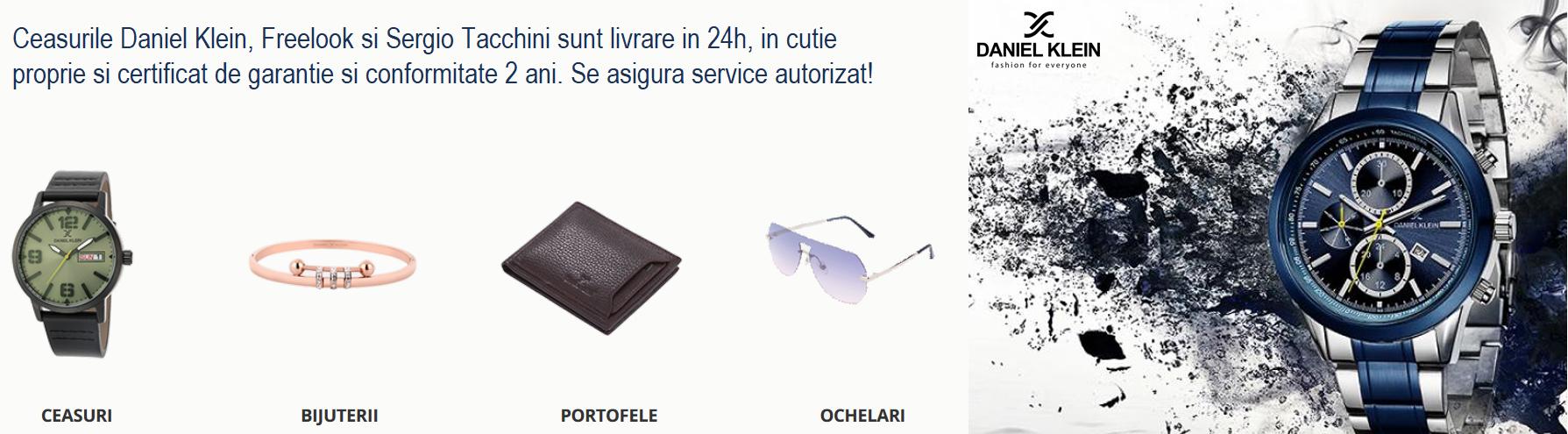 Ceasurile Daniel Klein,  Freelook si  Sergio Tacchini   sunt livrare in 24h, in cutie proprie si certificat de garantie si conformitate 2 ani.  Se asigura service autorizat!