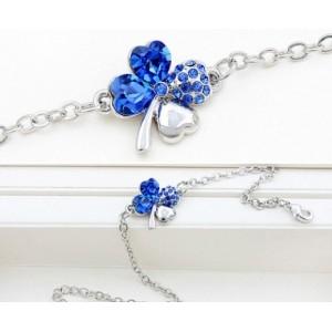 Bratara SWEET 4 LEAF blue cu cristale 0