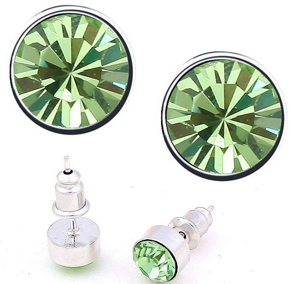 Cercei BRIGHT green-peridot cu cristale swarovski 0