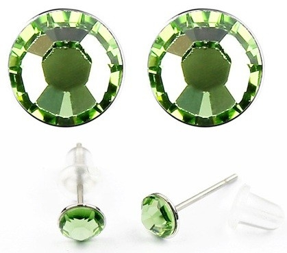 Cercei LITTLE SHINE green-peridot cu cristale swarovski 0