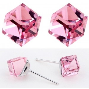 Cercei WATER CUBE rose cu cristale 0