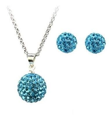 Set bijuteriii SHAMBALA bleo-aquamarine cu cristale 0