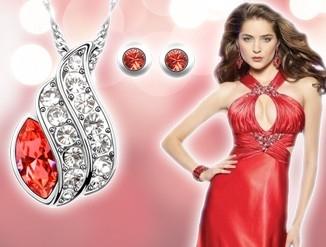 Set bijuterii Lucky  red cu cristale swarovski 0