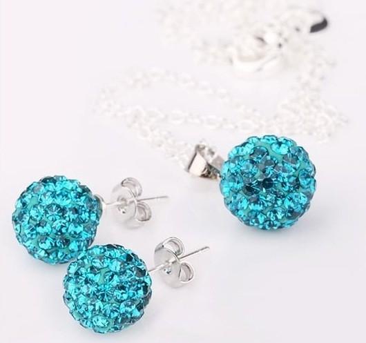 Set bijuteriii SHAMBALA bleo topaz-turquoise cu cristale 0