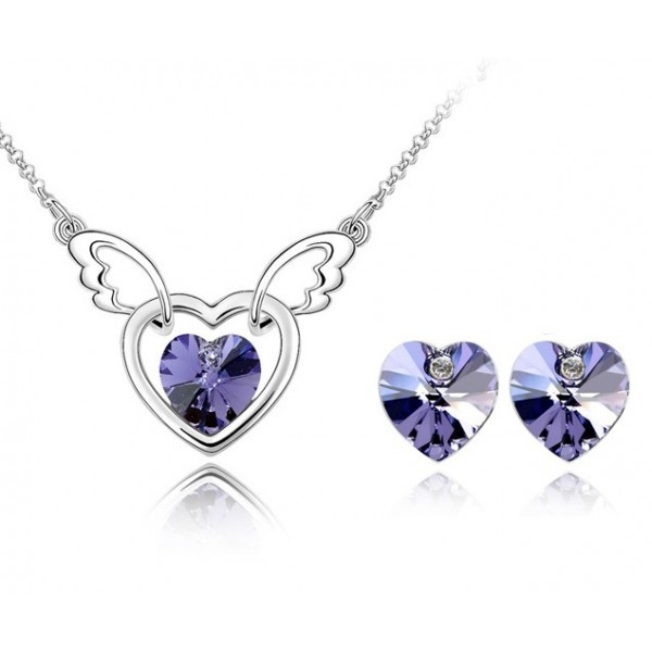 Set FANTASY HEART Violet inchis cu cristale swarovski 0