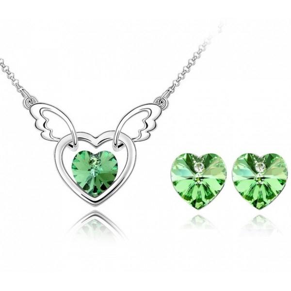 Pachet promo: Set FANTASY HEART verde- green peridot cu cristale swarovski + BONUS Cercei Charisma red cu cristale 0