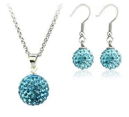 Set bijuteriii SHAMBALA lung bleo-aquamarine cu cristale [0]