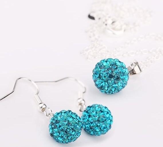 Set bijuteriii SHAMBALA lung bleo topaz-turquoise cu cristale 0