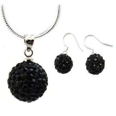 Set bijuteriii SHAMBALA lung negru  cu cristale 0