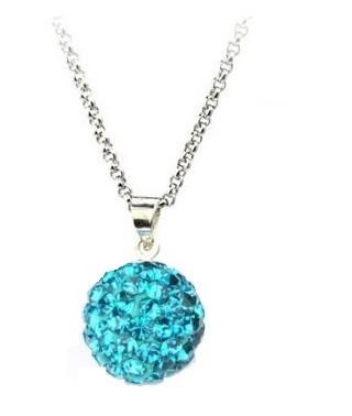 Pandant SHAMBALA BLUE TOPAZ turquoise cu lantic placat cu aur alb cu cristale 0