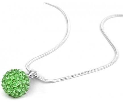 Pandant SHAMBALA VERDE green cu lantic placat cu argint cu cristale 0