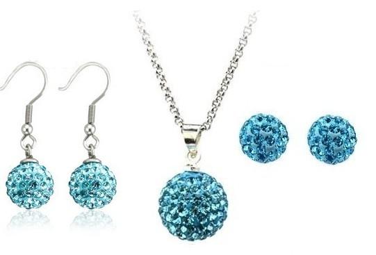 Set bijuteriii SHAMBALA bleo-aquamarine cu 2 perechi de cercei cu cristale [0]
