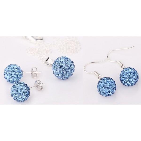Set bijuteriii SHAMBALA albastru ciel lightblue cu 2 perechi de cercei cu cristale 0
