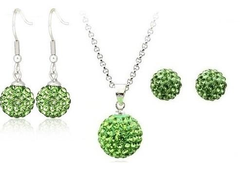 Set bijuteriii SHAMBALA verde deschis cu 2 perechi de cercei cu cristale 0