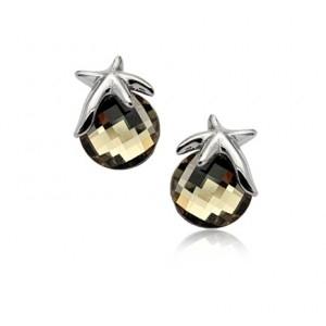 Cercei STAR RIGANT Black Diamond cu reflexii  cu cristale, placati cu aur 18k varianta silver 0