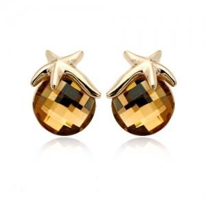 Cercei STAR RIGANT gold champagne cu reflexii  cu cristale Swarovski placati cu aur 18k 0