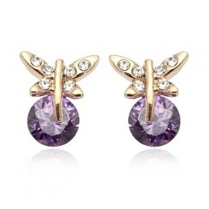 Cercei SWEET BUTTERFLY RIGANT cu cristale Swarovski violet  placati cu aur 18k  varianta gold 0