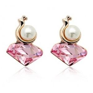 Cercei MELC rose cu cristale Swarovski si perla placati cu aur 18k varianta gold 0