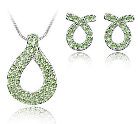 Set de bijuterii cu cristale placate cu aur alb LOVE KNOT green-verde 0