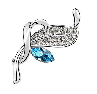 Brosa FLOWER highland aquamarine cu cristale Swarovski si placata cu aur 18K  garantie 6 luni - model 1028 1