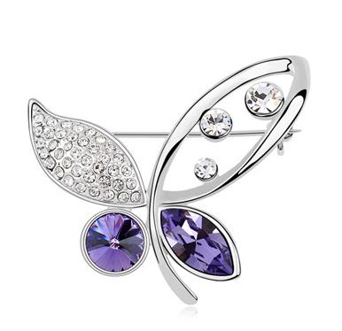 Brosa 1035 Elegant Butterfly violet cu cristale Swarovski si placata cu aur 18K  garantie 6 luni 0