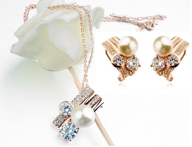 Set Sweet Pearl  cu elemente Swarovski si perle, garantie 6 luni 0