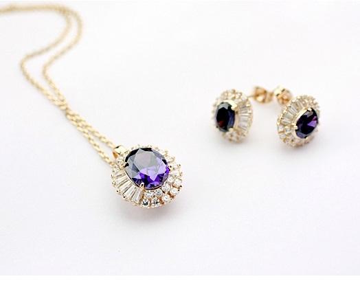 Set de bijuterii cu cristale REGAL violet placat cu aur 18k 0