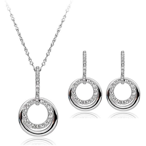 Set de bijuterii cu cristale SWEET LIFE white placat cu aur 18k, garantie 6 luni 0