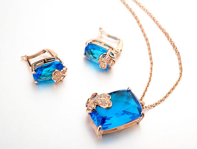 Set de bijuterii cu cristale Regal Butterfly blue din 3 piese, placat cu aur 18k si garantie 6 luni 0