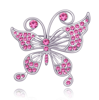 Brosa 2015 Fluture rose cu elemente Swarovski si placata cu aur 18K garantie 6 luni 0