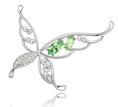 Brosa Butterfly x  green cu elemente Swarovski si placata cu aur 18K garantie 6 luni 0